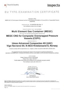 Inspecta: EU Type Examination Certificate (MEGC) Multi element Gas Container CNG for Composite Overwrapped Pressure Vessels (COPV)
