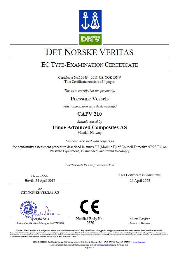 DET NORSKE VERITAS ECTYPE-EXAMINATION CERTIFICATE CAPV 210