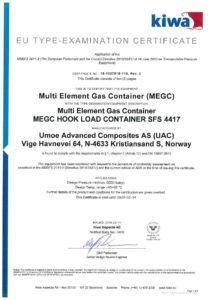 KIWA: EU Type Examination Certificate: (MEGC) Muilti Element Gas Container MEGC HOOK LOAD CONTAINER SFS 4417
