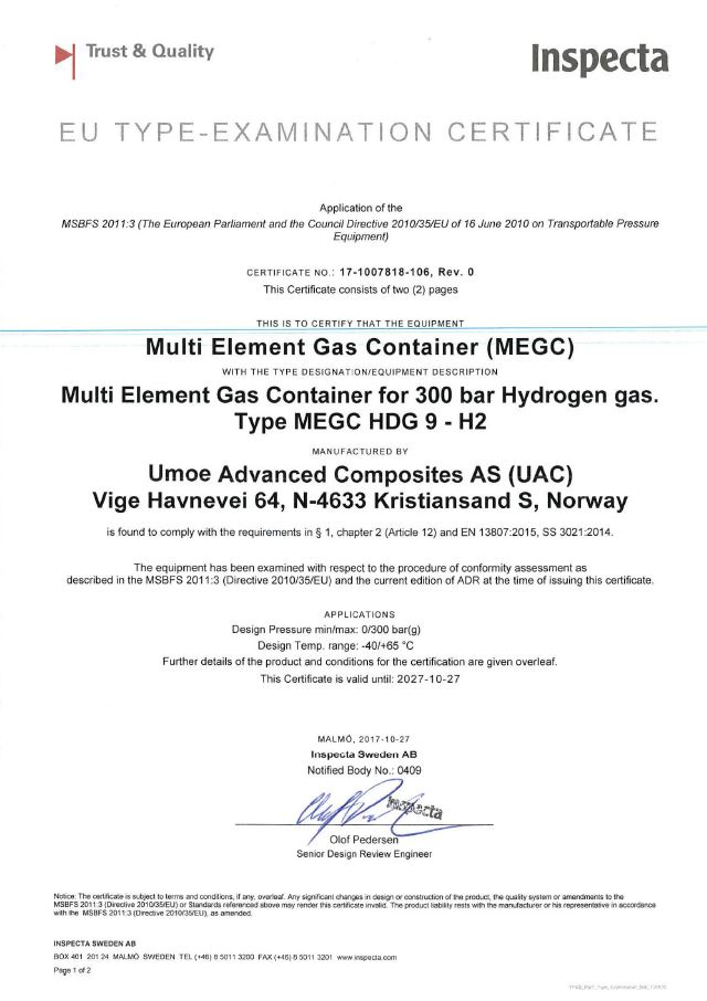 Inspecta: EU Type Examination Certificate: Multi Element Gas Container (MEGC) for Gas Container for 300 bar Hydrogen gas. Type MEGC HDG 9 - H2