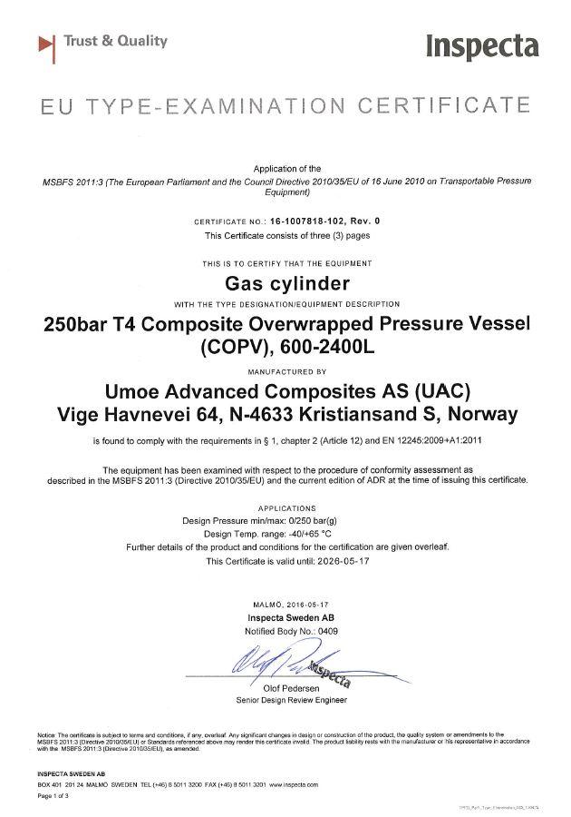 Inspecta: EU type Examination Certificate Gas cylinder